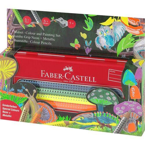 Faber-Castell Buntstift »Buntstifte JUMBO GRIP Metalletui Metallic/Neon, 10«