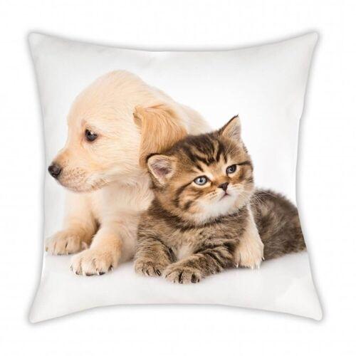 TOP! Zierkissen »Kissen mit Hund & Katze, 40x40 cm«, 100% Polyester
