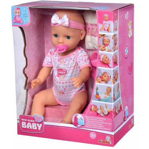 SIMBA Anziehpuppe »New Born Baby Doll - Baby Puppe - Mädchen Babypuppe Rosa«