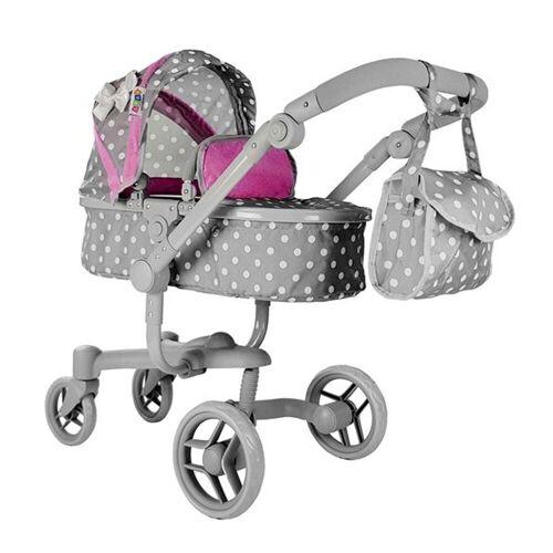 LEAN Toys Puppenwagen »Alice Big Pink-Grau Puppenkinderwagen Puppenwagen«, verstellbar 80 cm