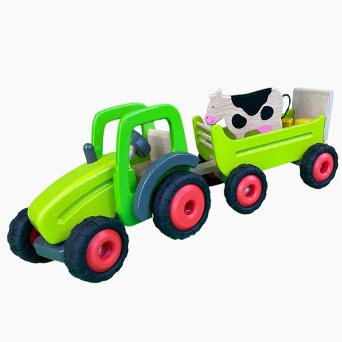 goki Spielzeug-Traktor »Traktor mit Kuh Anhänger«, aus Holz
