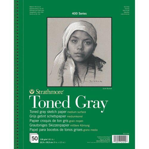 Strathmore Artist Papers™ Skizzenblock »Skizzen-Papier Toned Gray, Spiralblock, 22,9 x 30,5 cm, 118 g/m², 50 Blatt«, 400 Series Toned Sketch - Toned Gray