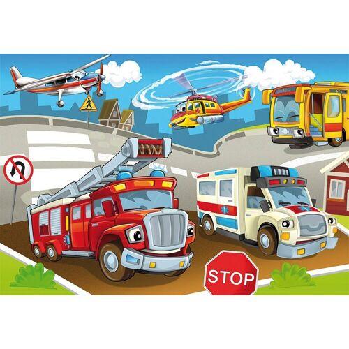 Papermoon Fototapete »Kids Cars«, Vlies, 5 Bahnen, 250 x 180 cm, bunt