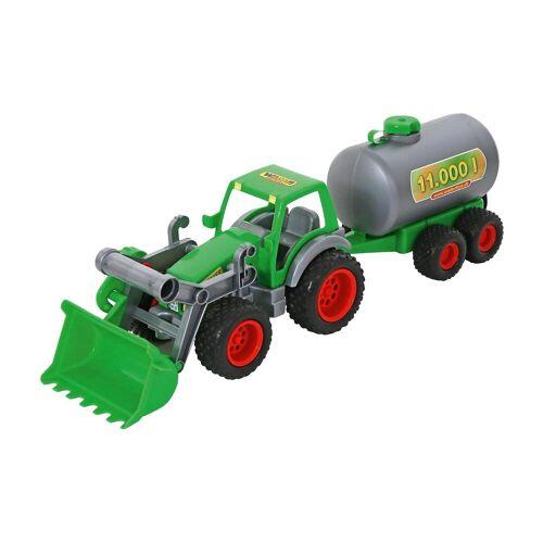 WADER QUALITY TOYS FarmerTechnic Traktor + Frontschaufel+Fassanhänger