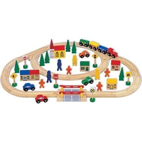 Mentari Spielzeug-Eisenbahn »63 teiliges Spielset für Kinder - Holzzug mit Schienen und Zubehör«, (63-tlg)
