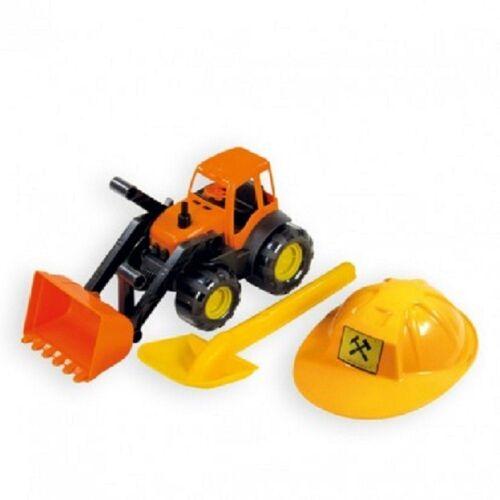 Mochtoys Spielzeug-Bagger »Spielzeug Set 10593 Bagger«, orange mit Helm und Sandschaufel in gelb