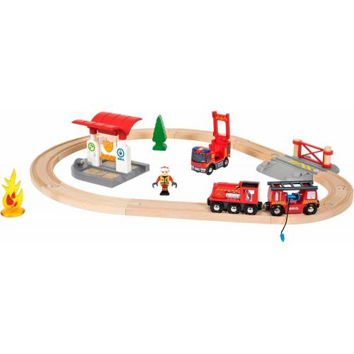 Brio Spielzeug-Eisenbahn »WORLD Feuerwehr Set«, (Set), mit Licht und Soundfunktion