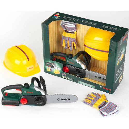 Klein Spielwerkzeug »Bosch Kettensäge mit Helm und Handschuhe«, (Set)