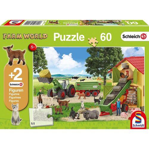Schmidt Spiele Puzzle 60 Teile Heueinfahrt auf dem Bauernhof + 2 Schleich®-