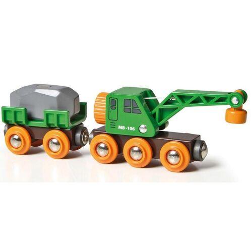 Brio Spielzeug-Eisenbahn »WORLD Grüner Kranwagen mit Anhänger und Fracht«