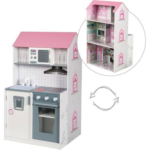 Roba® Spielküche, Spielhaus »2-in-1« Holz, mit mehrstöckigem Spielhaus