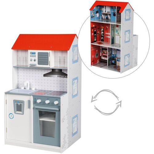 roba® Spielküche, Spielhaus »2-in-1, Feuerwehr« Holz, mit mehrstöckigem Puppenhaus