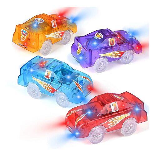kueatily Spielzeug-Auto »Schienenfahrzeuge mit 5 LED-Leuchten, Spielzeugrennwagen, elektrischer Eisenbahnwagen mit DIY-Aufklebern für Kinder ab«
