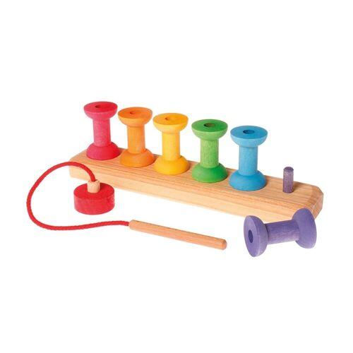 GRIMM´S Spiel und Holz Design Lernspielzeug, Fädelspiel bunte Holzspulen