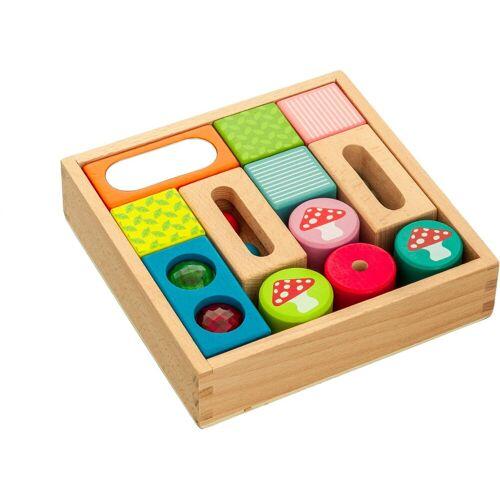 EverEarth® Spielbauklötze »Entdecker-Bauklötze«, Holz, (12 tlg), bunt