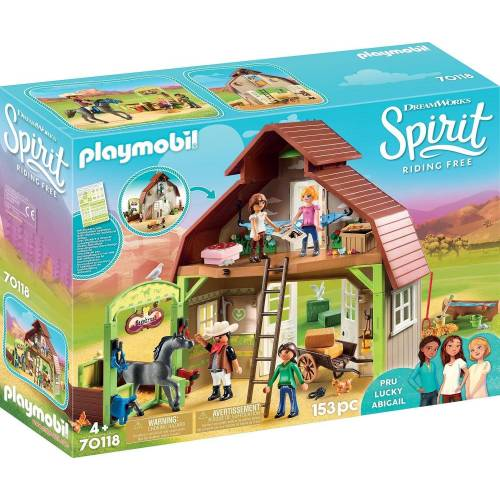 Playmobil Konstruktions-Spielset »Stall mit Lucky, Pru & Abigail (70118), Spirit Riding Free«, Made in Germany