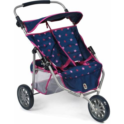 CHIC2000 Puppenbuggy »Zwillings-Puppen -Jogger, Stars marine«, 3-Rad