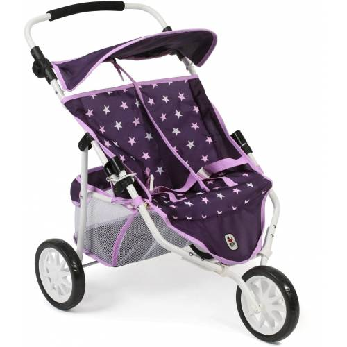 CHIC2000 Puppenbuggy »Zwillings-Puppen -Jogger, Stars lila«, 3-Rad