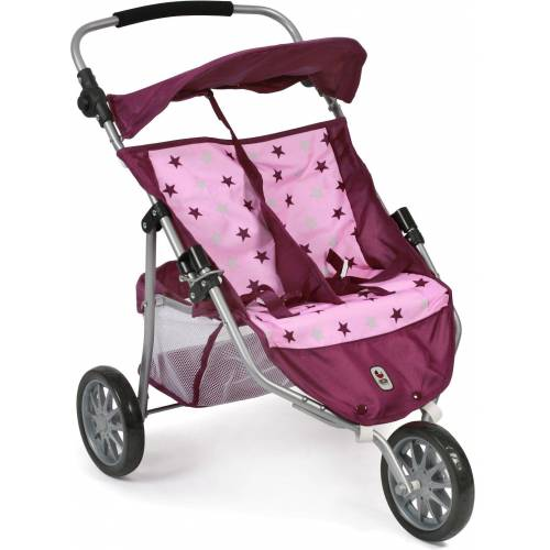 CHIC2000 Puppenbuggy »Zwillings-Puppen -Jogger, brombeere«, 3-Rad