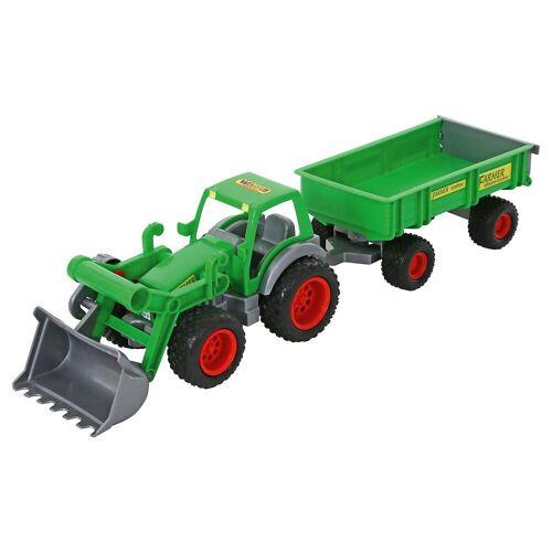 WADER QUALITY TOYS Farmer Technic Traktor + Frontschaufel + 2-Achsanhänger