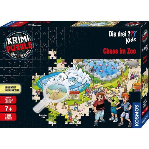 Kosmos Puzzle »Krimipuzzle Die drei ??? Kids 150 Teile / Chaos im Zoo«, 150 Puzzleteile, leuchtet im Dunkeln, Made in Germany