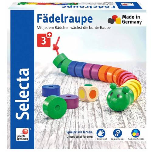 Selecta Spiel, »Fädelraupe«, aus Holz, Made in Germany