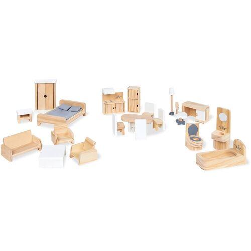 Pinolino® »Puppenhauseinrichtung aus Holz« Puppenhausmöbel (Set, 20-tlg), aus Holz
