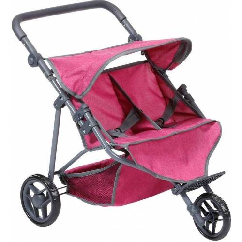 Knorrtoys® Puppen-Zwillingsbuggy »Duo, berry«