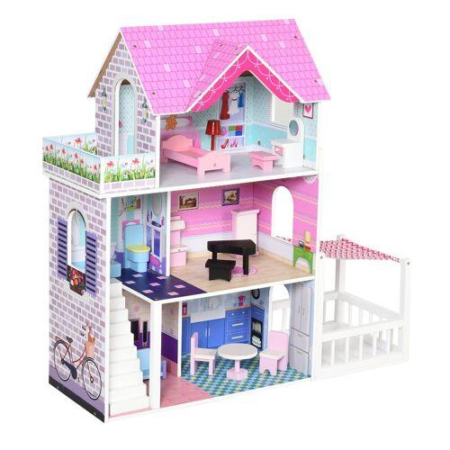 HOMCOM Puppenhaus »Puppenhaus mit 3 Etagen«