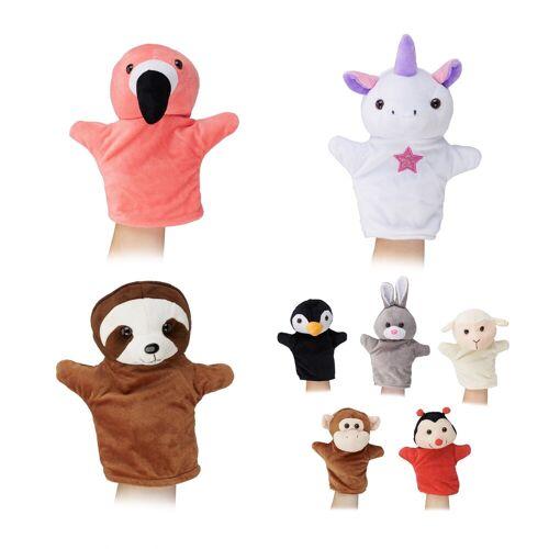 relaxdays Handpuppe »Handpuppen Tier-Set für Kinder«