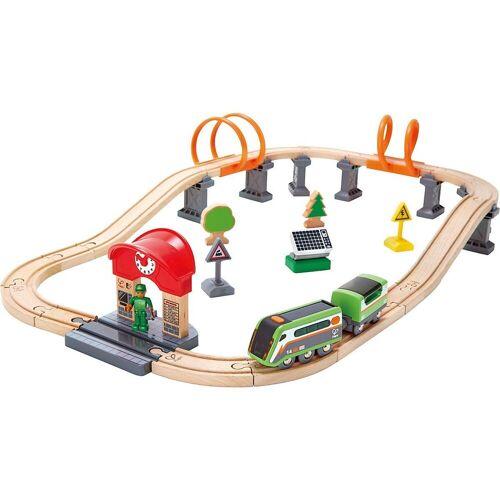 Hape Spielzeugeisenbahn-Set »Eisenbahn-Set Nacht-Rundfahrt mit Solar-Lok«