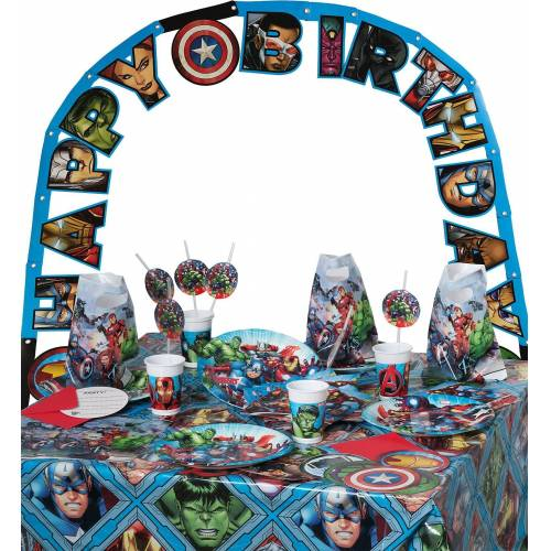 Procos Kindergeschirr-Set »Partyset Marvel Avengers Mighty, 50-tlg.«