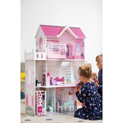 myToys Puppenhaus »Puppenhaus mit 13 Möbeln, pink«