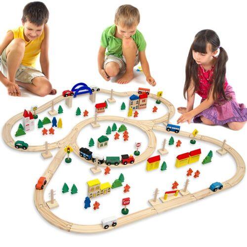 eyepower Spielzeug-Eisenbahn »Holzeisenbahn 130 Teile Spielzeug + Zubehör 5m«, Eisenbahn-Set 5 Meter Schienen