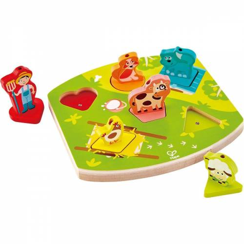 Hape Steckpuzzle »Bauernhof-Geräusche-Puzzle«, Puzzleteile