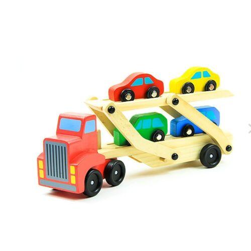 LeNoSa Spielzeug-LKW »Holz Autotransporter mit vier Fahrzeugen«
