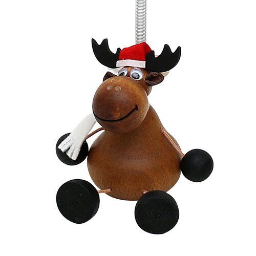 Dekohelden24 Hängefigur »Holz Figur Weihnachtselch mit Sprungfeder«, (1-tlg)