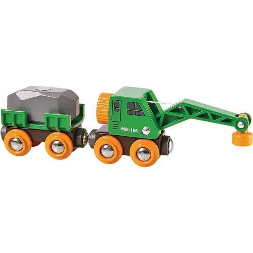 Brio Spielzeug-Eisenbahn »Grüner Kranwagen mit Anhänger und Fracht«
