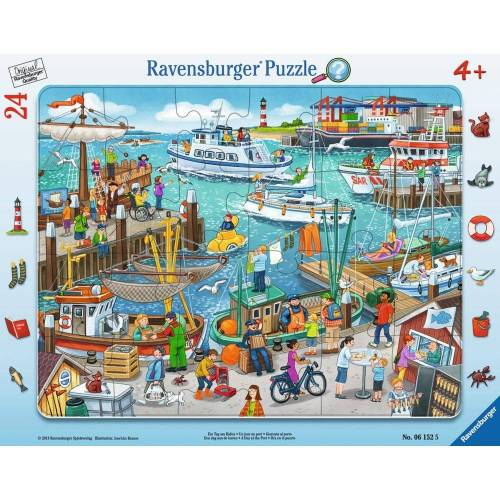 Ravensburger Rahmenpuzzle »Ein Tag Am Hafen - Rahmenpuzzle«, 25 Puzzleteile