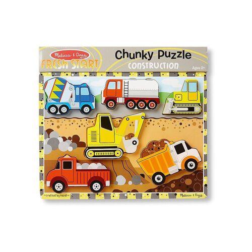 Melissa & Doug Steckpuzzle »Holzklotz-Puzzle Baustelle, 6 Teile«, Puzzleteile