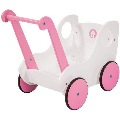 LeNoSa Puppenwagen »Holz Lauflernwagen - Puppenwagen weiß/rosa«