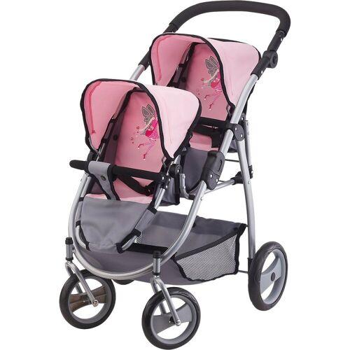 Bayer Puppenwagen »Zwillingspuppenwagen pink/grau«