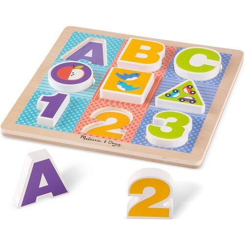 Melissa & Doug Steckpuzzle »Holzklotz-Puzzle ABC-123, 9 Teile«, Puzzleteile