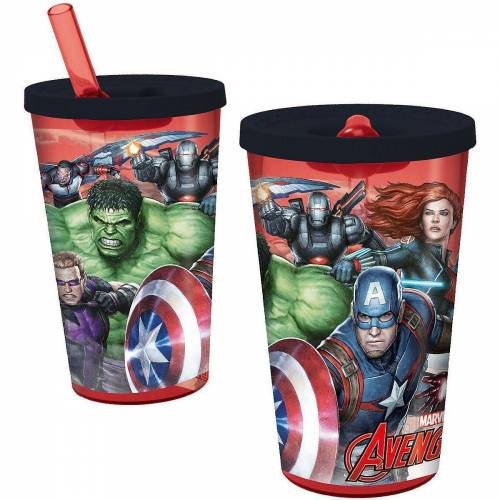 p:os Becher »Trinkbecher mit Strohhalm Avengers«
