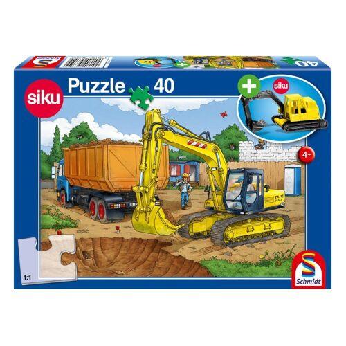 Schmidt Spiele Puzzle »Bagger Baustelle mit Siku Bagger«, 40 Puzzleteile