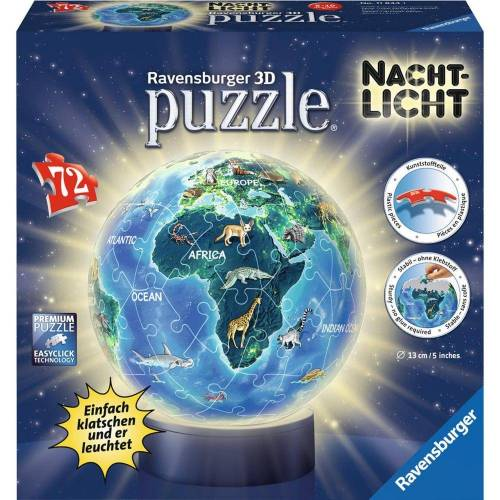 Ravensburger 3D-Puzzle »Erde Im Nachtdesign - Puzzle-Ball, Nachtlicht«, 72 Puzzleteile