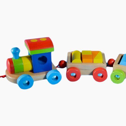 goki Spielzeug-Eisenbahn »Holzeisenbahn Orlando«, aus Holz und jede Menge Bausteinchen