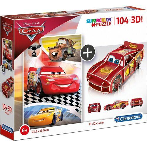 Clementoni® Puzzle »Puzzle 104 Teile + 3D Modell - Cars«, Puzzleteile