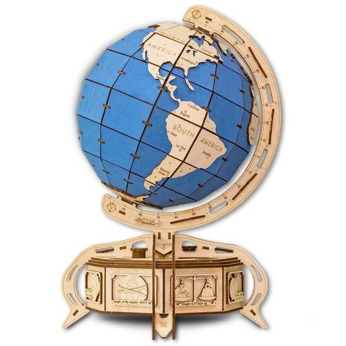 ECO Wood Art 3D-Puzzle »Globus - blau – mechanischer Modellbausatz aus Holz«, Puzzleteile