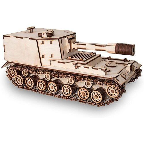 ECO Wood Art 3D-Puzzle »SAU-212 – Panzer – mechanischer Modellbausatz aus Holz«, Puzzleteile